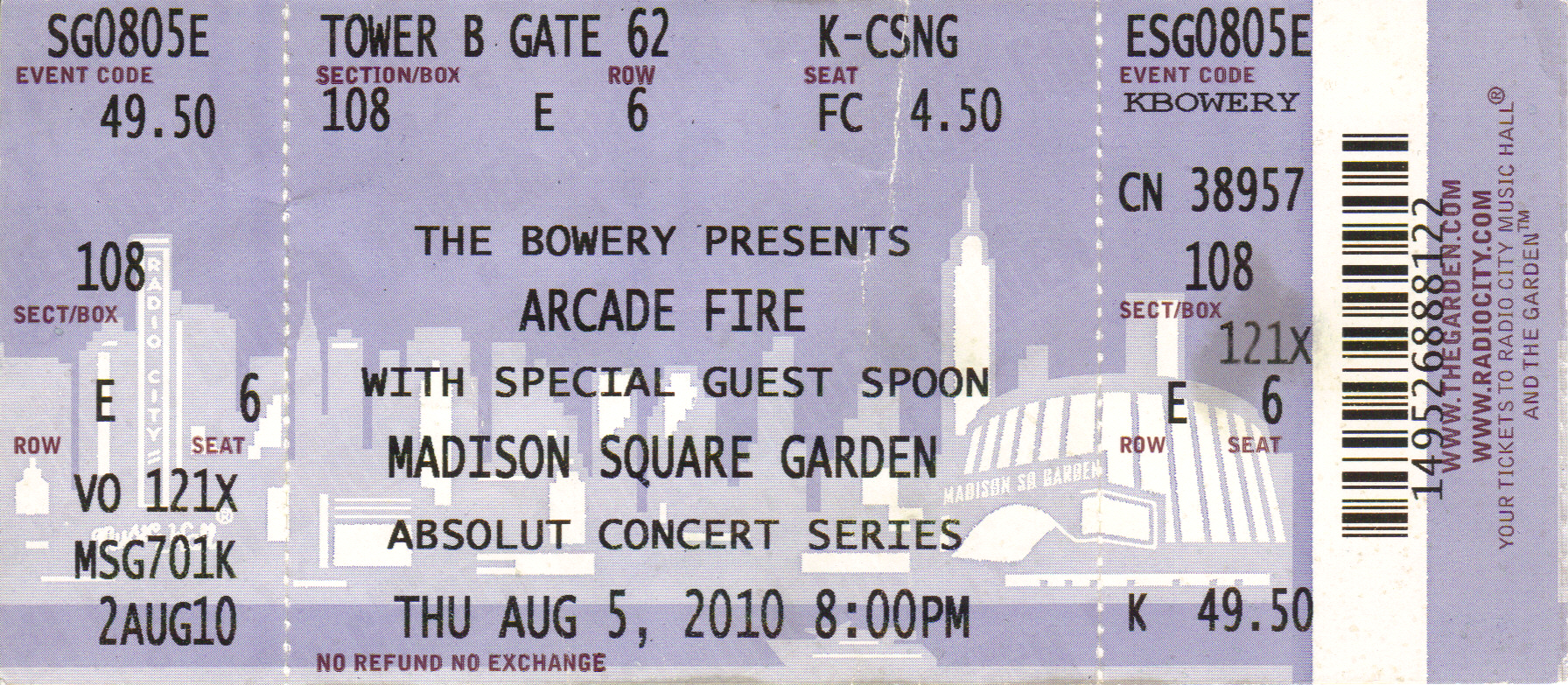 arcade fire 2010 08 05 ticket madison square garden flickr
