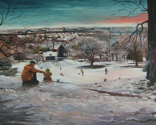 Thornes Park Wakefield, sledging My painting