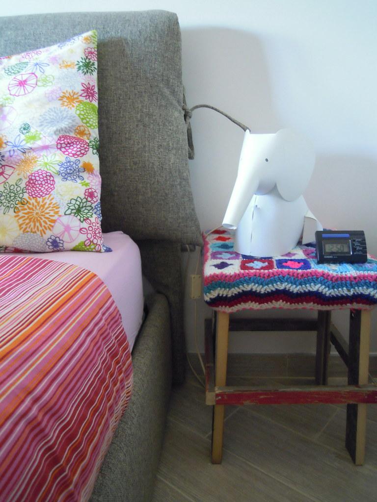 wood& wool stool in my bedroom
