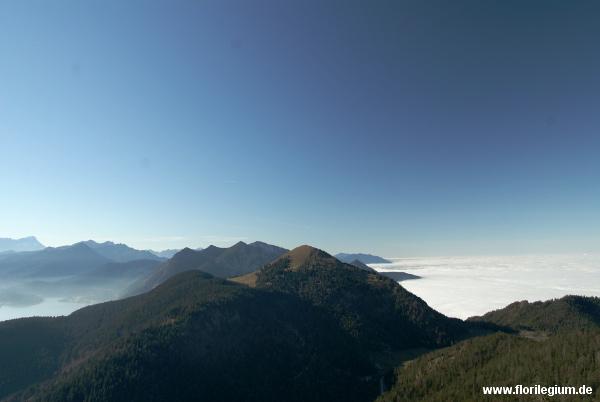 Blick zum Gipfel des Jochberg und des Herzogstand