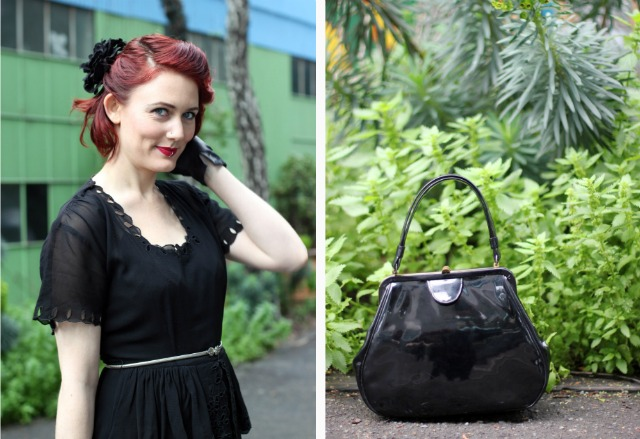 vintage handbag and 1940s hair