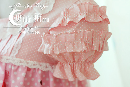 White_moon_pink_strawberry_chocolate_print_T_silhouette_lolita_dress_6