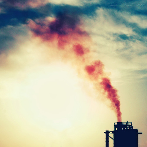 blue sunset red chimney sky color ecology yellow clouds evening industrial factory smoke serbia surreal atmosphere trail pollution srbija combustion shotfromamovingcar lapovo