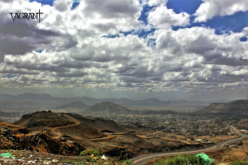 road street city blue sky cloud white mountain mountains clouds canon eos afternoon view hill hills yemen sanaa sana d550 blinkagain