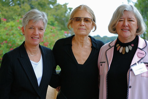 Provost and Vice President for Academic Affairs Carol Bresnahan, Gloria Steinem, and Patricia Schroeder