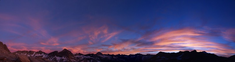 Dusy Basin sunset panorama