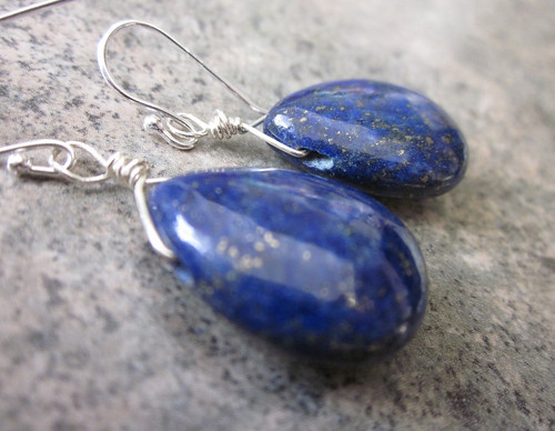 Lapis Lazuli Briolette   Earrings Wrapped in Sterling Silver
