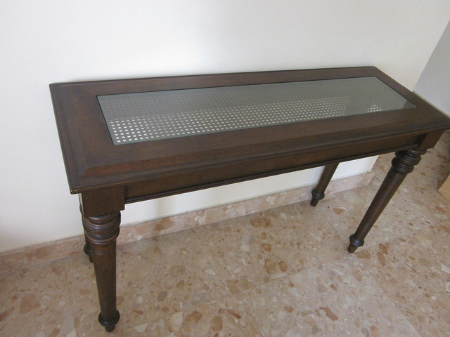 Console table 48 x 17 x 30 h inches rattan glass for 48 inch sofa table