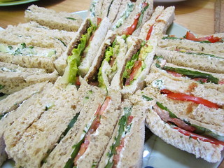 Finger Sandwiches: Cucumber and Cream Cheese; Tomato Basil and Cream Cheese; BLT
