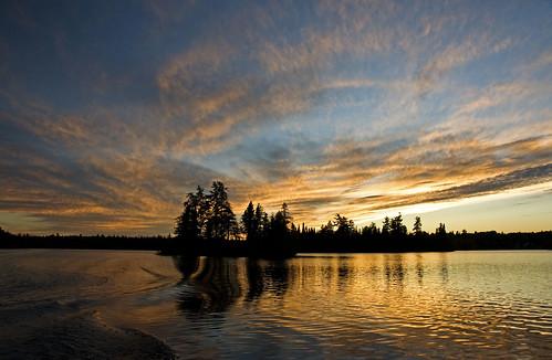 sunset lake reflection clouds island goodbye keefer canadapt