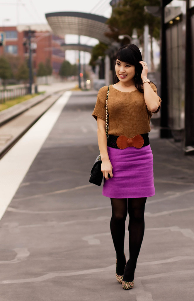 h&m camel knit sweater, j. crew classic felted wool mini vintage violet, michael kors rose gold small runway watch mk5430, t plus j dangle stone earrings, charlotte russe black crochet braided belt, chanel classic black quilted m/l flap purse, nordstrom black tights, bakers wild pair mara leopard pumps