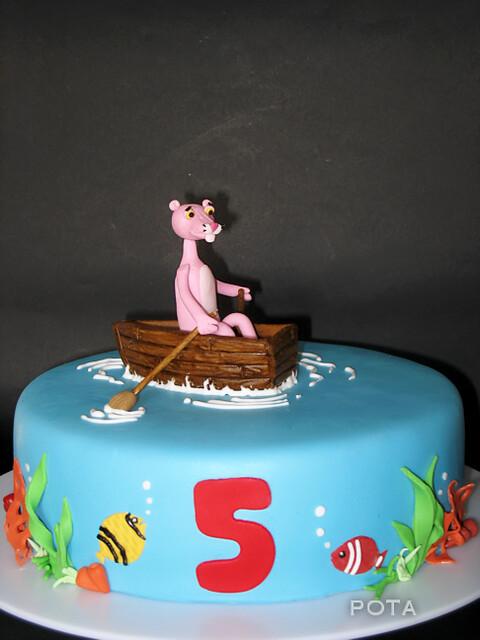"""Gateau """"La Panthère Rose dans un bateau""""... Torta Pink Panther u čamcu"""