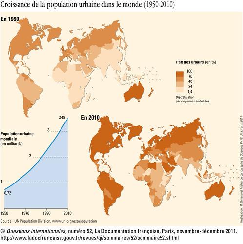 carte de la croissance de la population urbaine dans le monde
