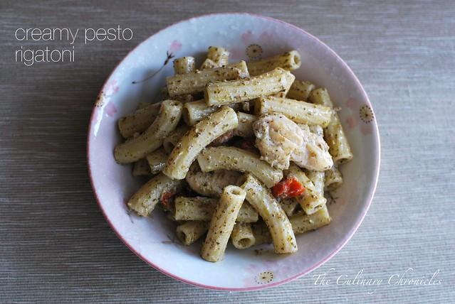 Creamy Pesto Rigatoni