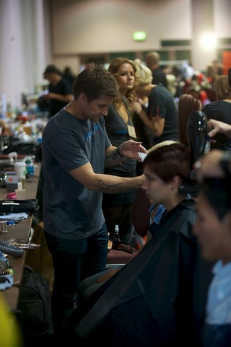 Aveda Academy grads working backstage at Congress 2011