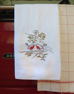 Robins on a tea towel