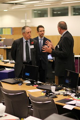 Minister Lord McNally (left) and Jonathan Djanogly (centre) at the Rolls Building in London