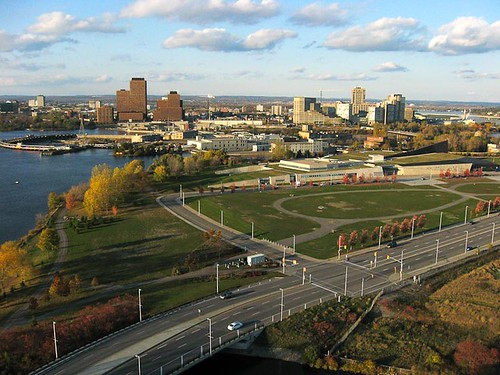 Aerial photograph of Gatineau skyline, Chaudiere Falls and the Canadian War Museum.  - Kite Aerial Photography