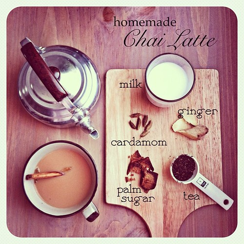 The ingredients of homemade chai latte