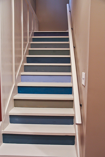 painted basement stairs with board and batten 1 of 26 flickr photo sharing. Black Bedroom Furniture Sets. Home Design Ideas