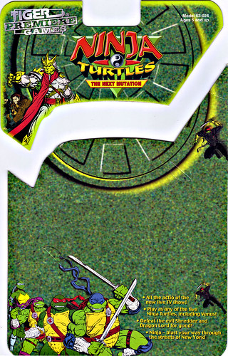"TIGER ELECTRONICS :: ""NINJA TURTLES: THE NEXT MUTATION"" ELECTRONIC LCD GAME ..card backer i (( 1998 ))"