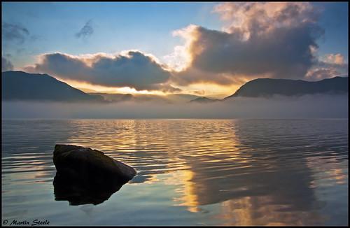 lake reflection water beauty rock fog clouds sunrise lakedistrict silence cumbria fells stunning serene karma exploration majestic faithful ullswater