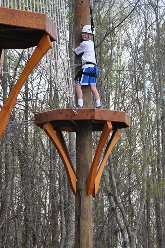 Carson hams it up for the camera on the ropes course
