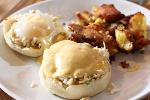 Peeky Toe Crab Benedict with One Hour Eggs, Old Bay Infused Hollandaise