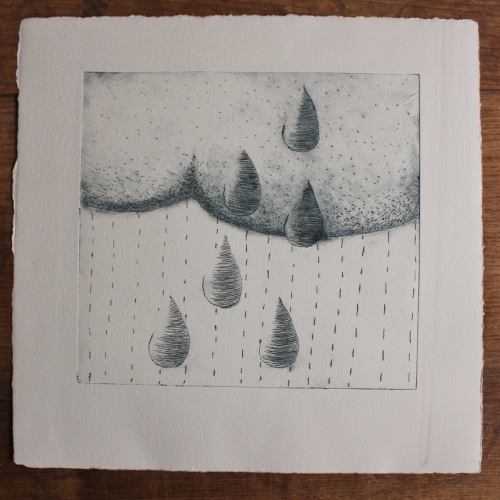 rain cloud dark - paynes grey ink (26x26cm)