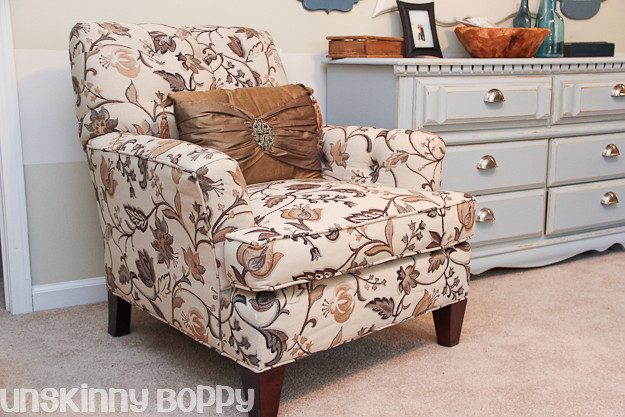floral patterned chair in home office