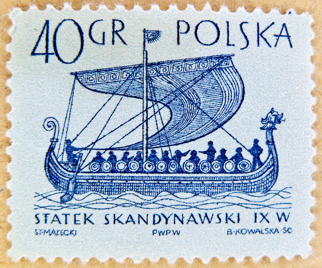 fine stamp Polska Poland 40 gr postage Viking ship of Gokstad (9th century a.d.)