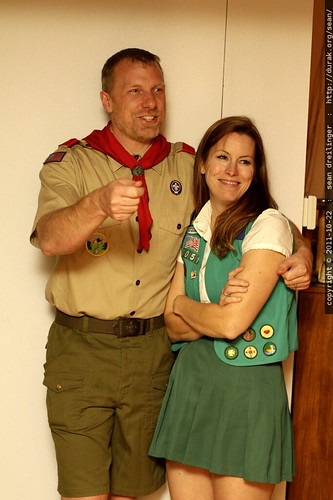 adult scoutmaster with girl scout    MG 5847