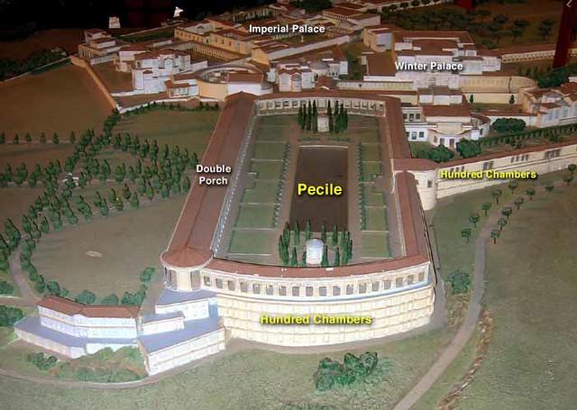 The Pecile and the Hundred Chambers, Plastic Model, Hadrian's Villa, Tivoli