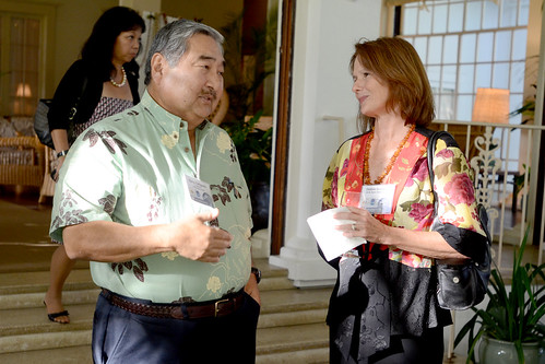 <p>Hilo businessman Barry Taniguchi and Debbie Goodwin of the Keck Observatories were among the guests, who included representatives from Big Island and astronomy communities; federal, state and university officials;  and benefactors.</p>