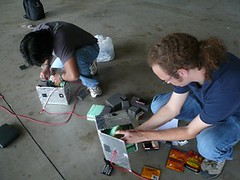 Stuffing the payload boxes just before launch