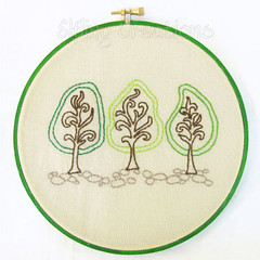 Green Trees Framed Embroidery