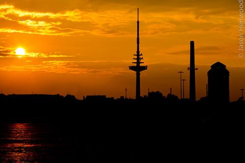 city sunset silhouette bremen