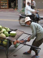 Coconut vendor in Phnom Penh