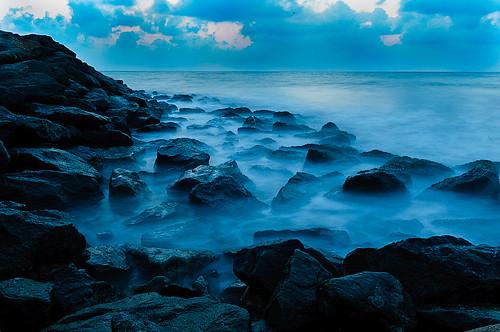 ocean longexposure travel sea sky water clouds rocks asia srilanka