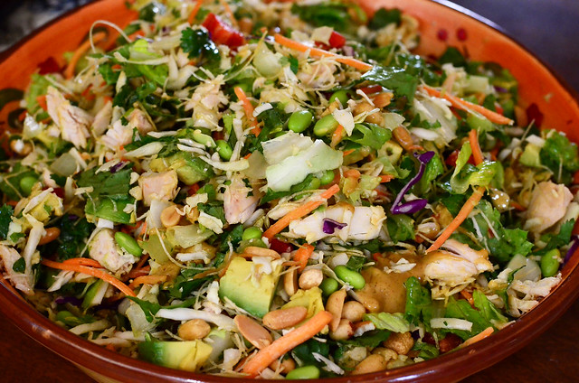 A serving bowl with the finished Thai Chicken Salad.