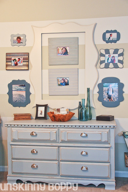 striped wall with organic bloom knockoff funky frames