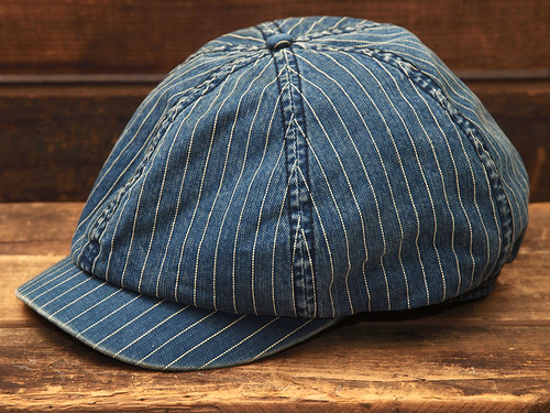 RRL / Indigo Striped Newsboy Cap