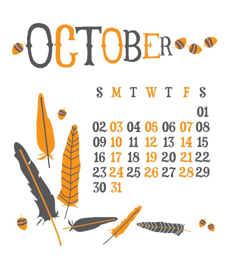 October Calendar Design : Hello my dear design