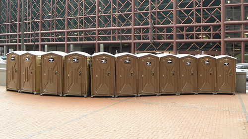 Porapotties at OccupyMN protest in Minneapolis: Day 1