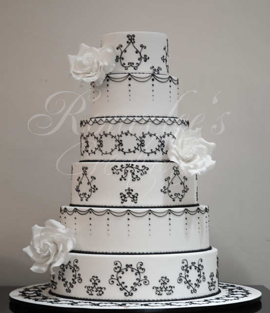 Design is based on Cake Boss 39s Black and White 6 tier wedding cake