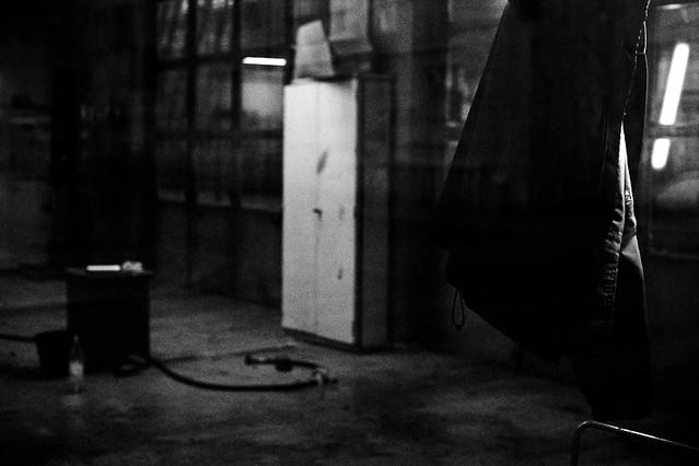 Jacket in empty garage
