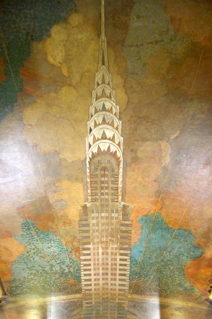 Nyc midtown chrysler building ceiling mural flickr for Chrysler building mural