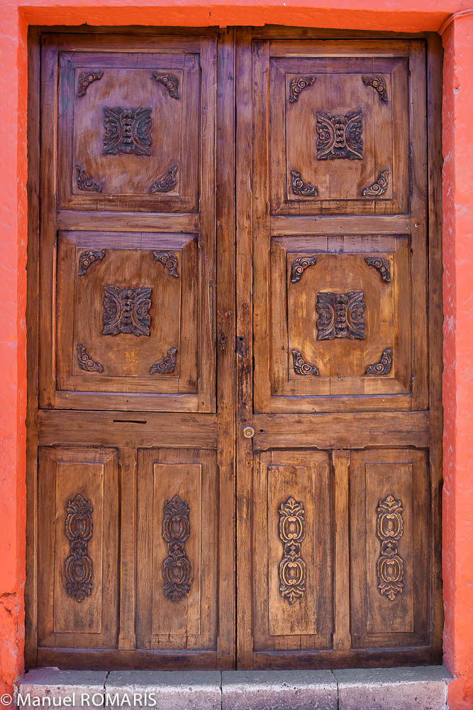 Arequipa, Peru, carved wooden door