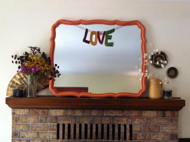 Pumpkin Orange Mirror, Crochet Love Letters