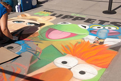 Muppet Movie chalk art outside the AMC Theatre